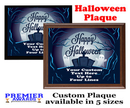 Halloween Custom Full Color Plaque.  Choice of black or brown plaque with full color plate.  5 Plaques sizes available -halloween 005