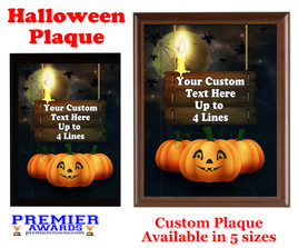 Halloween Custom Full Color Plaque.  Choice of black or brown plaque with full color plate.  5 Plaques sizes available -halloween 007