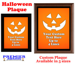 Halloween Custom Full Color Plaque.  Choice of black or brown plaque with full color plate.  5 Plaques sizes available -halloween 008
