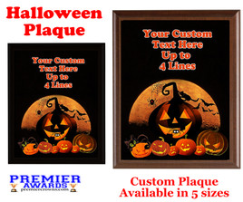 Halloween Custom Full Color Plaque.  Choice of black or brown plaque with full color plate.  5 Plaques sizes available -halloween 009