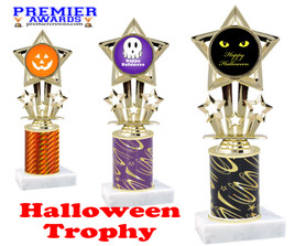 Halloween theme trophy.  One column with choice of column color, art work and trophy height.  Numerous heights available.  767