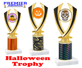 Halloween theme trophy.  One column with choice of column color, art work and trophy height.  Numerous heights available.  4516