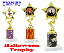 Halloween theme trophy.  One column with choice of column color, art work and trophy height.  Numerous heights available.  80106