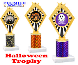 Halloween theme trophy.  One column with choice of column color, art work and trophy height.  Numerous heights available.  92656
