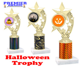 Halloween theme trophy.  One column with choice of column color, art work and trophy height.  Numerous heights available.  h208