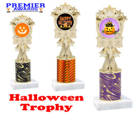 Halloween theme trophy.  One column with choice of column color, art work and trophy height.  Numerous heights available.  mf3260