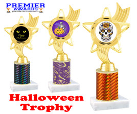 Halloween theme trophy.  One column with choice of column color, art work and trophy height.  Numerous heights available.  ph27