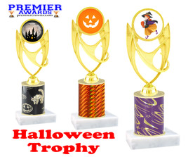 Halloween theme trophy.  One column with choice of column color, art work and trophy height.  Numerous heights available.  ph28