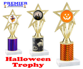 Halloween theme trophy.  One column with choice of column color, art work and trophy height.  Numerous heights available.  ph30