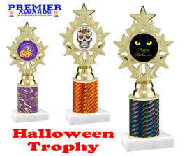 Halloween theme trophy.  One column with choice of column color, art work and trophy height.  Numerous heights available.  ph75