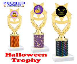 Halloween theme trophy.  One column with choice of column color, art work and trophy height.  Numerous heights available.  ph97