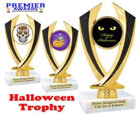 Halloween theme trophy.  Choice of art work and base.  9 designs available. 4516