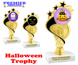 Halloween theme trophy.  Choice of art work and base.  9 designs available. ph106
