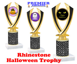 Halloween theme trophy.  Rhinestone Trophy with choice of art work and base.  9 designs available. 4516