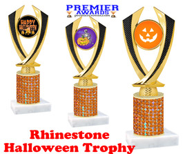 Halloween theme trophy.  Rhinestone Trophy with choice of art work and base.  9 designs available. Orange stones 4516