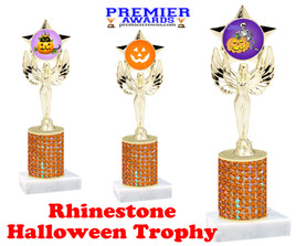 Halloween theme trophy.  Rhinestone Trophy with choice of art work and base.  9 designs available. Orange stones 7517