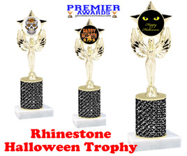 Halloween theme trophy.  Rhinestone Trophy with choice of art work and base.  9 designs available. Black stones 7517