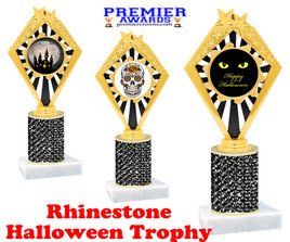 Halloween theme trophy.  Rhinestone Trophy with choice of art work and base.  9 designs available. Black stones 92656