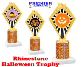 Halloween theme trophy.  Rhinestone Trophy with choice of art work and base.  9 designs available. Orange stones 92656