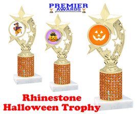 Halloween theme trophy.  Rhinestone Trophy with choice of art work and base.  9 designs available. Orange stones h208