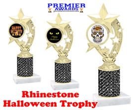 Halloween theme trophy.  Rhinestone Trophy with choice of art work and base.  9 designs available. Black stones h208