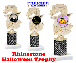 Halloween theme trophy.  Rhinestone Trophy with choice of art work and base.  9 designs available. Black stones h300