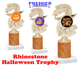 Halloween theme trophy.  Rhinestone Trophy with choice of art work and base.  9 designs available. Orange stones h300