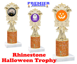 Halloween theme trophy.  Rhinestone Trophy with choice of art work and base.  9 designs available. Orange stones mf3260