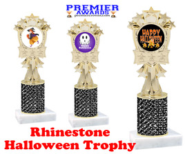 Halloween theme trophy.  Rhinestone Trophy with choice of art work and base.  9 designs available. Black stones mf3260