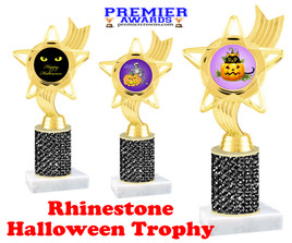 Halloween theme trophy.  Rhinestone Trophy with choice of art work and base.  9 designs available. Black stones ph27