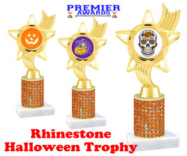 Halloween theme trophy.  Rhinestone Trophy with choice of art work and base.  9 designs available. Orange stones ph27