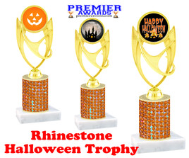 Halloween theme trophy.  Rhinestone Trophy with choice of art work and base.  9 designs available. Orange stones ph28