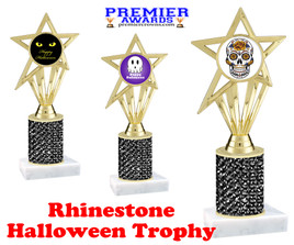 Halloween theme trophy.  Rhinestone Trophy with choice of art work and base.  9 designs available. Black stones ph30