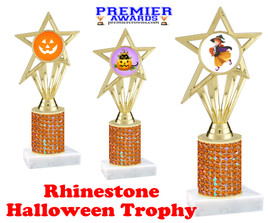 Halloween theme trophy.  Rhinestone Trophy with choice of art work and base.  9 designs available. Orange stones ph30