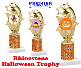 Halloween theme trophy.  Rhinestone Trophy with choice of art work and base.  9 designs available. Orange stones ph55