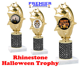 Halloween theme trophy.  Rhinestone Trophy with choice of art work and base.  9 designs available. Black stones ph55