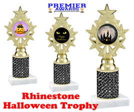 Halloween theme trophy.  Rhinestone Trophy with choice of art work and base.  9 designs available. Black stones ph75