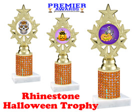 Halloween theme trophy.  Rhinestone Trophy with choice of art work and base.  9 designs available. Orange stones ph75