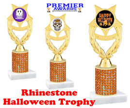 Halloween theme trophy.  Rhinestone Trophy with choice of art work and base.  9 designs available. Orange stones ph97
