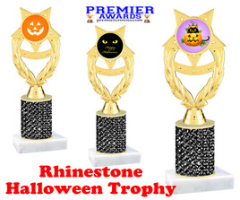 Halloween theme trophy.  Rhinestone Trophy with choice of art work and base.  9 designs available. Black stones ph97