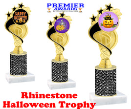 Halloween theme trophy.  Rhinestone Trophy with choice of art work and base.  9 designs available. Black stones ph106