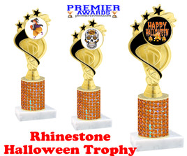 Halloween theme trophy.  Rhinestone Trophy with choice of art work and base.  9 designs available. Orange stones ph106