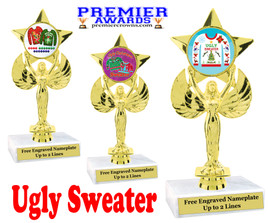 """Ugly Christmas Sweater Trophy.   6 """" tall.  Includes free engraving.   A Premier exclusive design!  7517"""