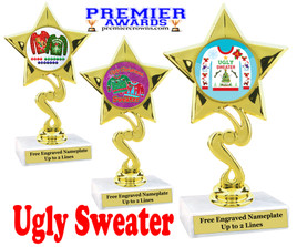"""Ugly Christmas Sweater Trophy.   6 """" tall.  Includes free engraving.   A Premier exclusive design!  80106"""