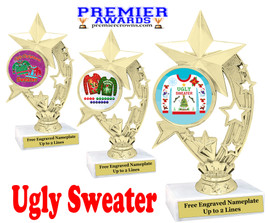 """Ugly Christmas Sweater Trophy.   6 """" tall.  Includes free engraving.   A Premier exclusive design!  H208"""