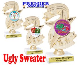 """Ugly Christmas Sweater Trophy.   6 """" tall.  Includes free engraving.   A Premier exclusive design!  H300"""