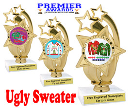 """Ugly Christmas Sweater Trophy.   6 """" tall.  Includes free engraving.   A Premier exclusive design!  ph55"""
