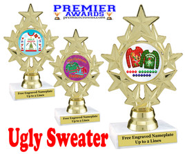 """Ugly Christmas Sweater Trophy.   6 """" tall.  Includes free engraving.   A Premier exclusive design!  ph75"""