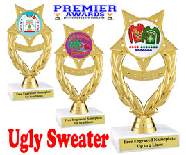 """Ugly Christmas Sweater Trophy.   6 """" tall.  Includes free engraving.   A Premier exclusive design!  ph97"""