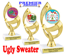 """Ugly Christmas Sweater Trophy.   6 """" tall.  Includes free engraving.   A Premier exclusive design!  ph108"""